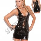 Black Vinyl Mini Dress that Laces Up the Front & Back - Large