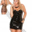 Black Vinyl Mini Dress w/ Underwire Cups, Halter Neck & Elastic Strap Back Detail - Queen/Plus Size