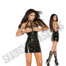 Black Vinyl Cupless Mini Dress w/ Caged Neck & Zipper Back - Small