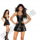 Black Vinyl Corset Mini Dress w/ Zipper Front, Boning, Pleated Skirt & Chain Detail - X-Large