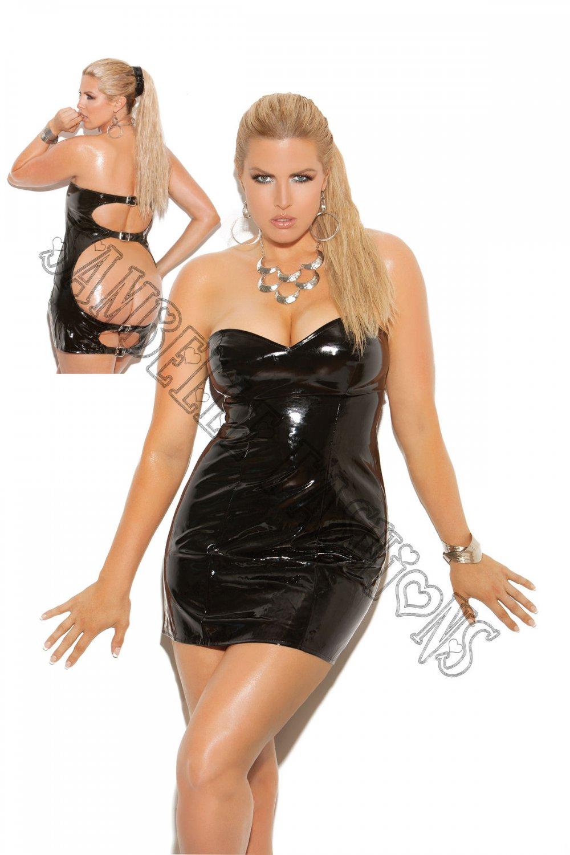 Black Strapless Vinyl Spanking Dress w/ Adjustable Buckle Closure - 3X