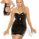 Black Strapless Vinyl Spanking Dress w/ Adjustable Buckle Closure - 2X