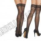 Black Sheer Thigh Hi w/ Striped Elastic Top - One Size