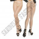 Nude Sheer Cuban Foot Pantyhose w/ Woven Lace Up Back Detail - One Size