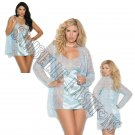 3pc Baby Blue Lace Babydoll w/ Satin Panel in Front & Back, Lace Jacket, & Satin G-String - 3X