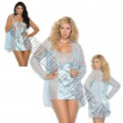 3pc Baby Blue Lace Babydoll w/ Satin Panel in Front & Back, Lace Jacket, & Satin G-String - 1X