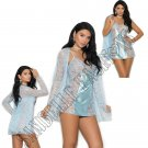 3pc Baby Blue Lace Babydoll w/ Satin Panel in Front & Back, Lace Jacket, & Satin G-String - Small