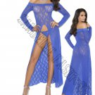 2pc Royal Blue Long Sleeve Lace Gown w/ Front Slit & G-String - One Size