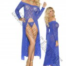 2pc Royal Blue Long Sleeve Lace Gown w/ Front Slit & G-String - Queen/Plus Size