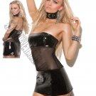 Black Bandeau Vinyl & Mesh Mini Dress - Medium