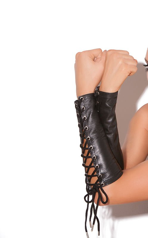 Black Leather Lace Up Gloves/Arm Band - One Size