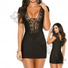 Black Boho Short Sleeve Mini Dress w/ Lace Up Front - Large