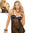 2pc Black/Pink Mesh Babydoll w/ Underwire Demi Cups in Polka Dot Charmeuse & G-String - Small