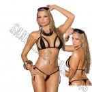 2pc Black Lycra Bikini Top & G-String - One Size