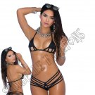 2pc Black Lycra Bikini Top & G-String - One Size