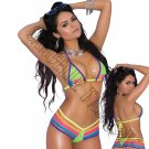 2pc Multi-Color Rainbow Lycra Bikini Top & Matching G-String w/ Contrast Trim - One Size