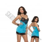 Hawaiian Ocean Satin Chemise w/ Lace Underwire Cups - Large