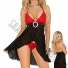 2pc Chiffon Halter Style Babydoll w/ Attached Belt w/ Buckle & G-String - Large
