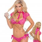 2pc Raspberry Lace & Mesh Cami & Panty w/ Satin Bows - Small
