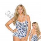 2pc Stretch Floral Bustier w/ Pearl Button Front Closure & Matching G-String - 3X