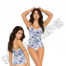 2pc Stretch Floral Bustier w/ Pearl Button Front Closure & Matching G-String - Medium