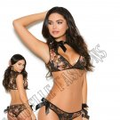 2pc Floral Print Lace Cami Top & Panty w/ Satin Bows - Large