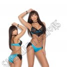 2pc Satin & Lace Underwire Bralette & Lined Panty w/ Lace Sides - Large