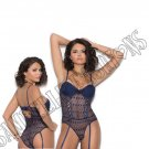 Midnight Blue Crochet Teddiette w/ Lightly Padded Underwire Cups & Garters - Large
