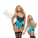 Hawaiian Ocean Blue Satin Teddiette w/ Lace Underwire Cups - Large