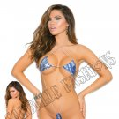 Blue Micro Mini Suspender Teddy w/ Halter Neck - One Size