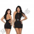 Black Lycra Halter Neck Mini Dress & Attached Belt w/ Heart-Shaped Accent - Medium