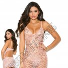 2pc Dusty Rose Lace Babydoll w/ Matching G-String - Large