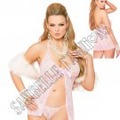 2pc Baby Pink Lace Babydoll & Matching G-String - One Size