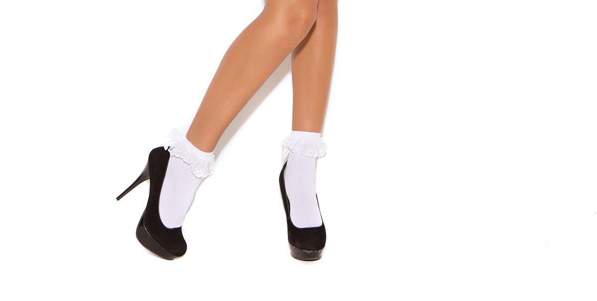 White Nylon Anklet w/ Ruffle & Satin Bow - One Size
