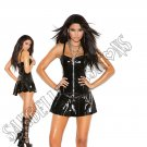 Black Vinyl Corset Mini Dress w/ Zipper Front, Boning, Pleated Skirt & Chain Detail - Large