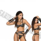 4pc set - Black Leather Bra, Garter Belt, G-String, & Arm Guard - Medium