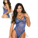 Royal Blue Eyelash Lace Thong Back Teddiette w/ Attached Garters - Small