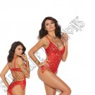 Red Lace Teddy w/ Eyelash Lace Side Detail - Small