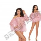 2pc Eyelash Lace Off the Shoulder Top w/ Bell Sleeves & Matching Panty - Small