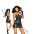 Black Leather Mini Dress w/ Studded Underwire Cups - Large