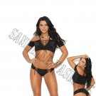 2pc Black Lycra Cold Shoulder Cami Top w/Lace Up Front & Booty Shorts - Small