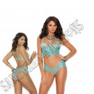 2pc Dusty Turquoise Eyelash Lace Cami Top w/Underwire Cups & Panty - Large