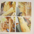 Metallic Long Chains Fake Body Art Temporary Tattoo Sticker Gold Silver Black