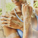 New Floral Metal Chains Fake Body Art Temporary Tattoo Sticker Gold Blue Flowers