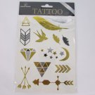N. Fake Birds Feather Stars Arrows Body Art Temporary Tattoo Sticker Gold Silver