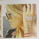 Metallic Metal Chains Fake Body Art Temporary Tattoo Sticker Gold Blue Flowers