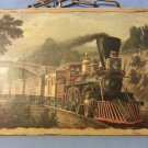 Currier & Ives Art Vintage Portrait Of Express Train on Wood Year 1870 %100 Wood