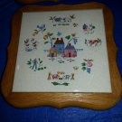 Vintage Barn Tiles Wooden Frame Wall Trivet Country Farm Garden Decorating Art