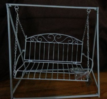 Brand New Vtg Swing Doll Stand 18x15 White Color iron Metal NEVER BEEN ASSEMBLED