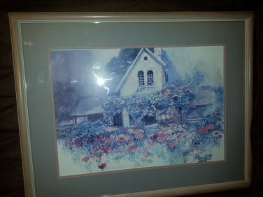 Vintage Water Color Artwork Double Signed By Dalina Darton 1986 Garden House